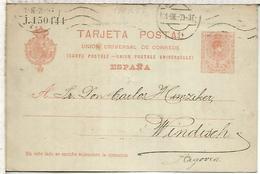 EP A WINDISCH TARJETA ENTERO POSTAL SPAIN STATIONERY CARD VARIEDAD LETRA EN MINUSCULA SERIE J - 1850-1931
