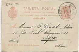 BARCELONA A LYON 1913 TARJETA ENTERO POSTAL SPAIN STATIONERY CARD VARIEDAD LETRA EN MINUSCULA SERIE F - 1850-1931