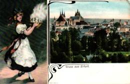 Erfurt, Teilansicht, Kellnerin Mit Knödeln, 1908 - Erfurt