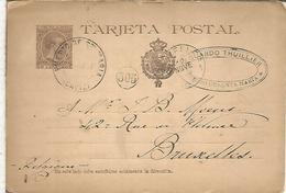 PUERTO DE SANTA MARIA CADIZ A BRUXELLES 1891 TARJETA ENTERO POSTAL SPAIN STATIONERY CARD M,AT ESTAFETA CAMBIO MADRID - 1850-1931