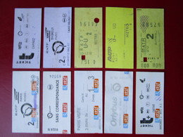 LOT N° 4 -  10 TICKETS METRO -  PARIS Divers  1° Classe - 2° Classe  - TBE - World