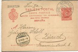 BARCELONA A ZURICH 1904 TARJETA ENTERO POSTAL SPAIN STATIONERY CARD - 1850-1931