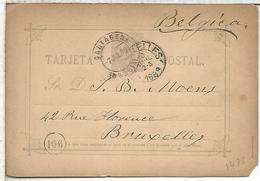 CARTAGENA MURCIA A BRUXELLES 1889  TARJETA ENTERO POSTAL SPAIN STATIONERY CARD VARIEDAD TIPO II-A - 1850-1931