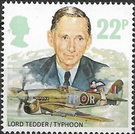 GREAT BRITAIN 1986 History Of The Royal Air Force - 22p - Lord Tedder And Hawker Typhoon IB MNH - 1952-.... (Elizabeth II)
