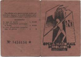 Tessera Opera Nazionale Dopolavoro Anno XII (1934). Dopolavoro Dipendenti Comunali Vicenza - Documenti Storici