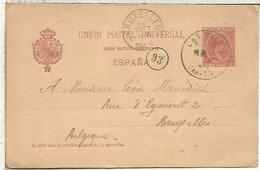 LAS PALMAS CANARIAS A BRUXELLES1896  TARJETA ENTERO POSTAL SPAIN STATIONERY CARD - 1850-1931