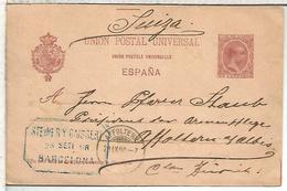 BARCELONA A AFFOLTERN 1898  TARJETA ENTERO POSTAL SPAIN STATIONERY CARD VARIEDAD LINEA 72MM Y UNION FRANCES CON ACENTO - 1850-1931