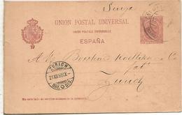 BARCELONA ZURICH 1899  TARJETA ENTERO POSTAL SPAIN STATIONERY CARD VARIEDAD UNION FRANCES CON ACENTO - 1850-1931