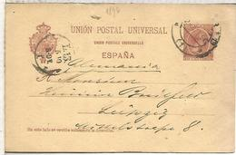 MADRID A LEIPZIG 1896  TARJETA ENTERO POSTAL SPAIN STATIONERY CARD - 1850-1931