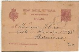 TARRASA A BARCELONA  1899 TARJETA ENTERO POSTAL SPAIN STATIONERY CARD VARIEDAD CON ACENTO EN UNION EN FRANCES - 1850-1931