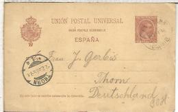 LAS PALMAS CANARIAS A THORN TARJETA ENTERO POSTAL SPAIN STATIONERY CARD - 1850-1931