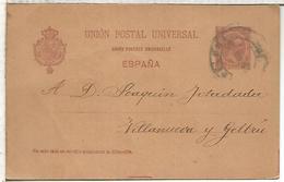 BARCELOA A VILANOVA I LA GELTRU TARJETA ENTERO POSTAL SPAIN  VARIEDAD ACENTO EN UNION EN FRANCES LINEA 72MM - 1850-1931