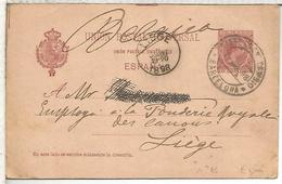 BARCELONA ESTAFETA DE CAMBIO A LIEGE TARJETA ENTERO POSTAL SPAIN STATIONERY CARD VARIEDAD ACENTO EN UNION EN FRANCES - 1850-1931