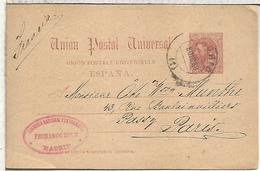 MADRID A PARIS 1889 TARJETA ENTERO POSTAL SPAIN STATIONERY CARD - 1850-1931