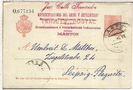 MARTOS JAEN A LEIPZIG 1912 TARJETA ENTERO POSTAL SPAIN STATIONERY CARD - 1850-1931