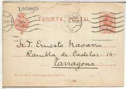 MADRID A TARRAGONA  TARJETA ENTERO POSTAL SPAIN STATIONERY CARD SERIE Y - 1850-1931