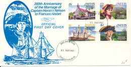 Nevis FDC 11-3-1987 200th Anniversary Of The Marriage Of Captain Horatio To Frances Nisbet Complete Set Of 4 With Cachet - St.Kitts And Nevis ( 1983-...)