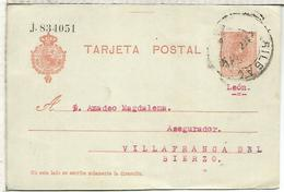 BILBAO A VILLAFRANCA DEL BIERZO LEON  TARJETA ENTERO POSTAL SPAIN STATIONERY CARD - 1850-1931
