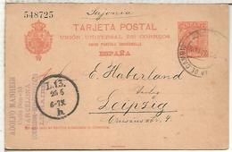 BARCELONA A LEIPZIG 1902  TARJETA ENTERO POSTAL SPAIN STATIONERY CARD - 1850-1931