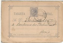 SAN SEBASTIAN A PARIS TARJETA ENTERO POSTAL SPAIN STATIONERY CARD VARIEDAD SR ROTO - 1850-1931