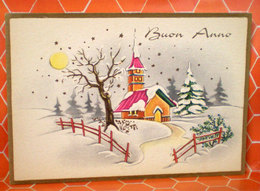 Auguri Buon  Anno Villaggio  Cartolina Non Viaggiata - Anno Nuovo