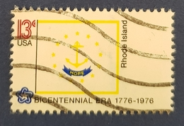 1976 State Flags, Rhode Island,  United States Of America, USA, Used - Gebraucht