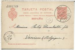 SEVILLA A VERVIERS 1910  ENTERO POSTAL SPAIN STATIONERY CARD VARIEDAD - 1850-1931