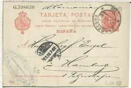 BARCELONA HAMBURG 1908  ENTERO POSTAL SPAIN STATIONERY CARD AGUJEROS ARCHIVO - 1850-1931