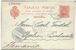 EP A BERLIN 1906 MAT AMBULANTE   ENTERO POSTAL SPAIN STATIONERY CARD - 1850-1931