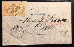Paquebots De Méditerranée Mai 1865 1ere Date Connue !? N°21 & 23 Oblitérés Ancre Du Mensalé Pour Cette Signé Baudot - Marcophilie (Lettres)