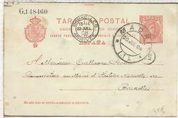 MADRID A BRUXELLES 1908  ENTERO POSTAL SPAIN STATIONERY CARD AGUJEROS ARCHIVO - 1850-1931