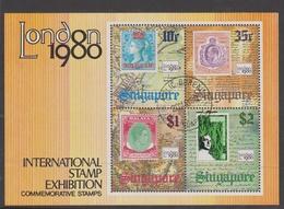 Singapore S80-3M 1980 London 80 Stamp Expo, Miniature Sheet Used - Singapore (1959-...)