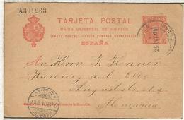 BARCELONA A HAMBURG 1910  ENTERO POSTAL SPAIN STATIONERY CARD VARIANTE O ESTRECHA - 1850-1931
