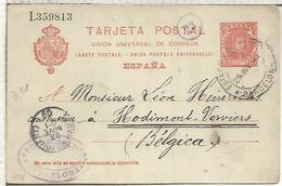 BARCELONA A VERVIERS 1909 ENTERO POSTAL SPAIN STATIONERY CARD - 1850-1931