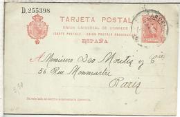 BARCELONA A PARIS 1906 ENTERO POSTAL SPAIN STATIONERY CARD - 1850-1931