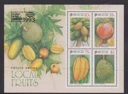 Singapore S93-7M 1993 Local Fruits, Miniature Sheet Mint Never Hinged - Singapore (1959-...)