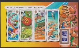 Singapore S96-6M 1996 XXV Th Olympic Games Atlanta, Miniature Sheet Mint Never Hinged - Singapore (1959-...)