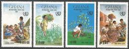 Ghana 1985 International Youth Year Banana Tree Plnting Education Environment Cleaning Michel 1097-1100 Set Mint - Ghana (1957-...)