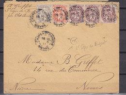 FRANCE 107+108*3+109 AFFR. A 10cms + F DE ST LEGER DE FOUGERET - 1900-29 Blanc