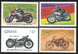 Ghana 1985 Motorcycle Honda DKW BMW NSU Michel 1102-1105 MNH - Motorfietsen