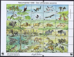 Denmark WWF 1998.  Sheet  With 30 Labels;  The African Savannah - W.W.F.