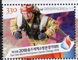 SOUTH KOREA, 2018, MNH, FIREMEN, FIREFIGHTERS, SPORTS, 13th WORLD FIREFIGHTERS GAMES, CHUNGJIU 2018, 1v - Pompieri