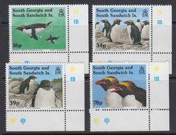 South Georgia 1993 Macaroni Penguins 4v (corner) ** Mnh (41321A) - Zuid-Georgia