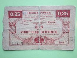 Bon De Nécessité 0.25 Arrondissement D'Avesnes (62)  1914-1918 - Bons & Nécessité