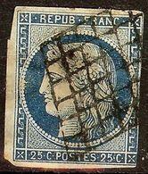 EXTRA CERES N°4a 25c Bleu Foncé Oblitéré GRILLE 1849 Cote 70 Euro PAS AMINCI - 1849-1850 Cérès