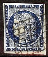 SUPERBE CERES N°4a 25c Bleu Foncé Oblitéré GRILLE 1849 Cote 70 Euro PAS AMINCI - 1849-1850 Cérès