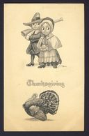 Thanksgiving - Pilgrim Couple Rifle Turkey - Wall A/s - Thanksgiving