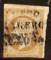 RARE OBLITERATION ESTRANGERO BARCELONA / NAP N°13 Ac 10c Bistre-Brun Cote + 35 € - 1853-1860 Napoleone III