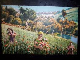 San Remo - Riviera Ligure (Imperia): Raccolta Di Fiori. Cartolina Fp Inizio '900 - San Remo