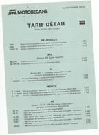 Doc  Motobecane  Tarif Detail  01.09.1978 Velo Solex - France